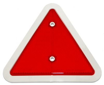 RED TRIANGULAR REFLECTOR c/w WHITE SURROUND (70mm Holes)