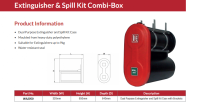 B&J FIRE EXT/SPILL KIT COMBI BOX